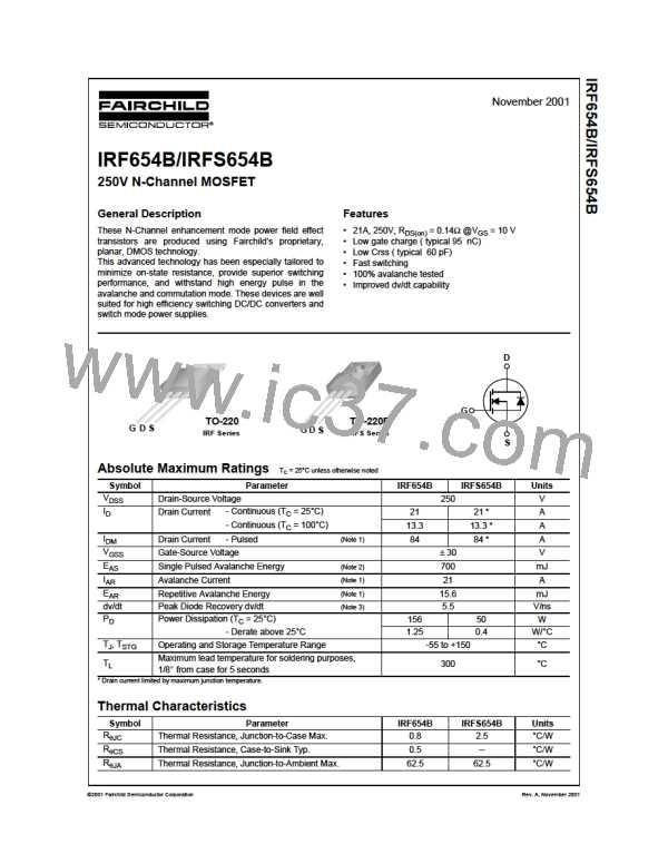 ON SEMICONDUCTOR IRF654B NEW NO BOX IRF654B