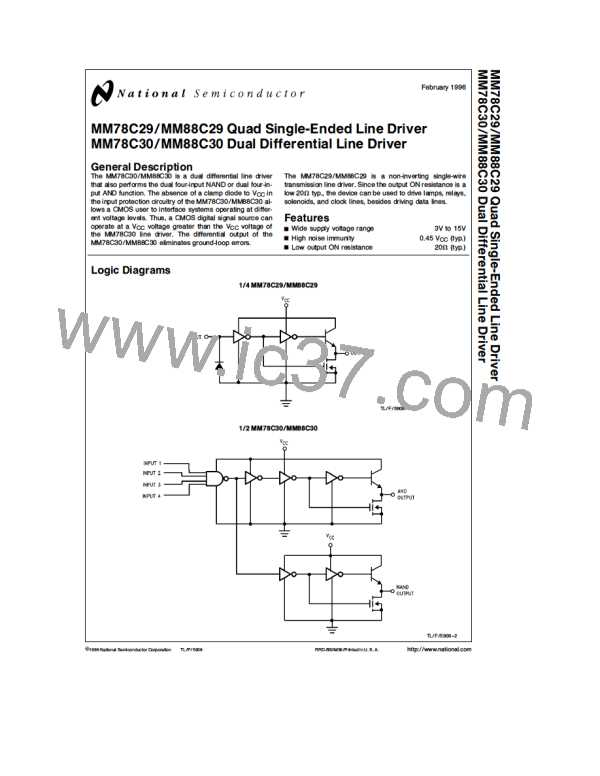 NSC MM88C30N DIP-14 Quad Single-Ended Dual Differential