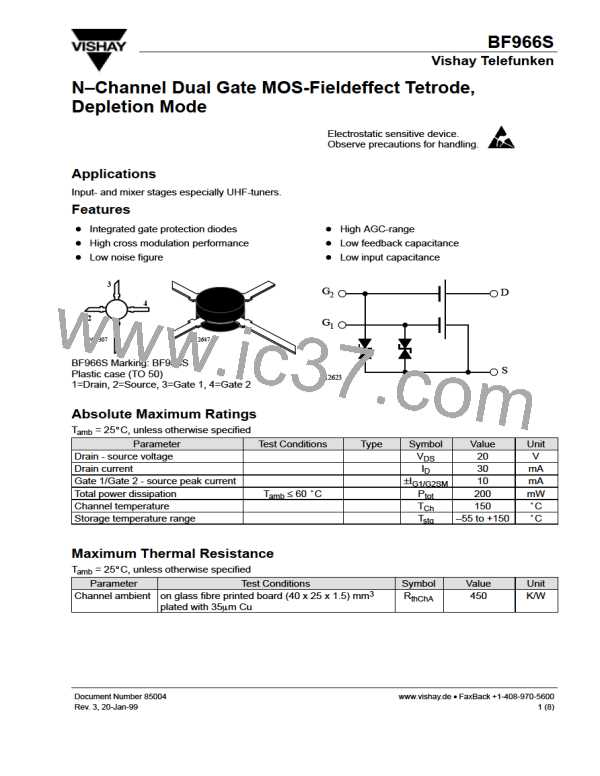 BF966S N-CHANNEL DUAL GATE MOS-FIELDEFFECT TETRODE DEPLETION MODE TO-50