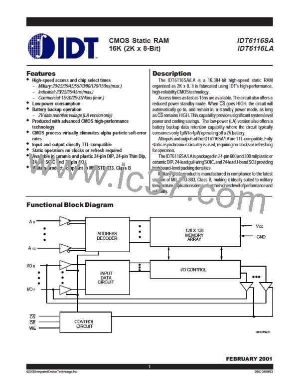 IDT6116SA120DB (IDT) PDF技术资料下载IDT6116SA120DB 供应信息IC Datasheet 数据表(4/11 页)IC PDF资料下载IC datasheet大全- 电子元器件