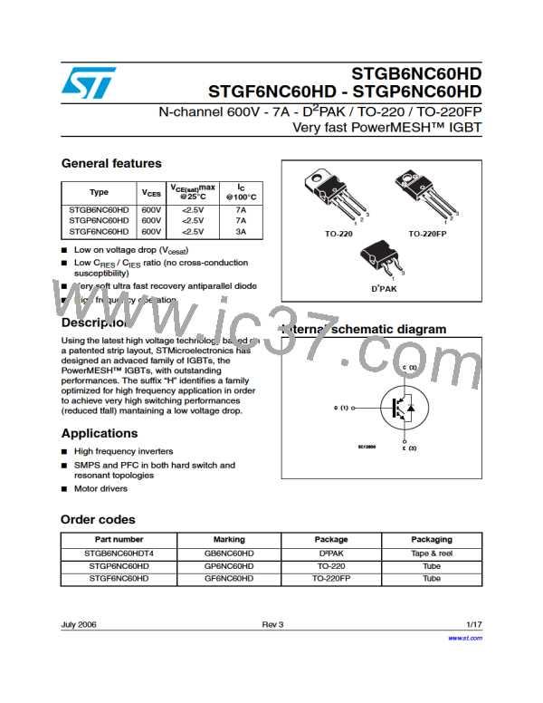 SMD Very Fast PowerMESH IGBT STGB6NC60HDT4